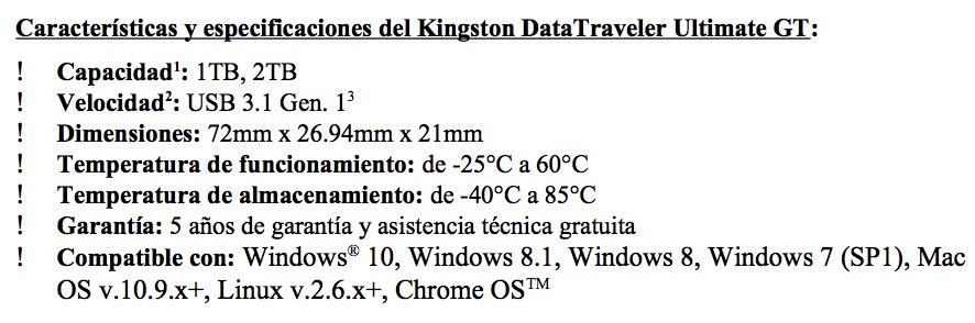 kingston-caracteristiques