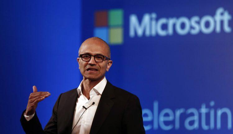 Microsoft CEO Nadella addresses the media during an event in New Delhi
