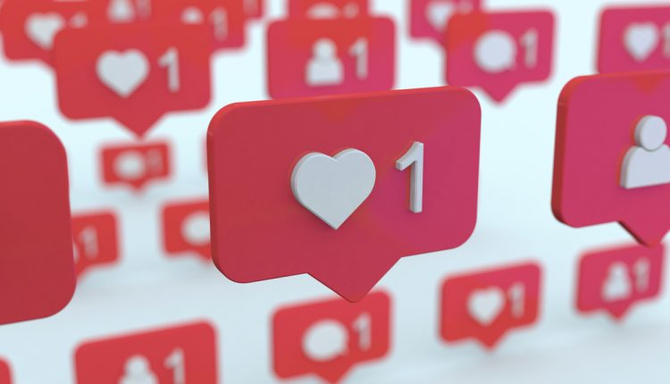 Social networking icons on message balloons, like and new friend