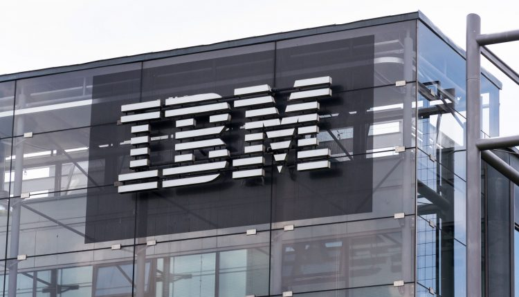 PRAGUE, CZECH REPUBLIC – MAY 10 2018: IBM company logo on headquarters building on May 10, 2018 in Prague, Czech Republic.